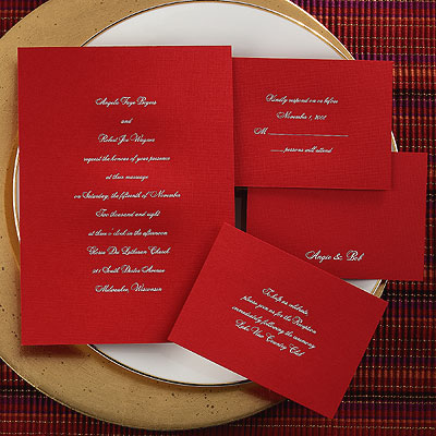 This red invitation is the ultimate in distinctive wedding stationery.
