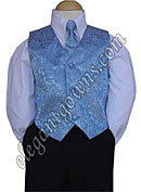 Baby Blue Jacquard Vest & Tie Ring Bearer Suit