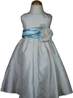 Bella Flower Girl Dress Baby Blue Sash