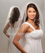 1 Tier Waist Length Corded/Pencil Edge Wedding Veil 5-301-C