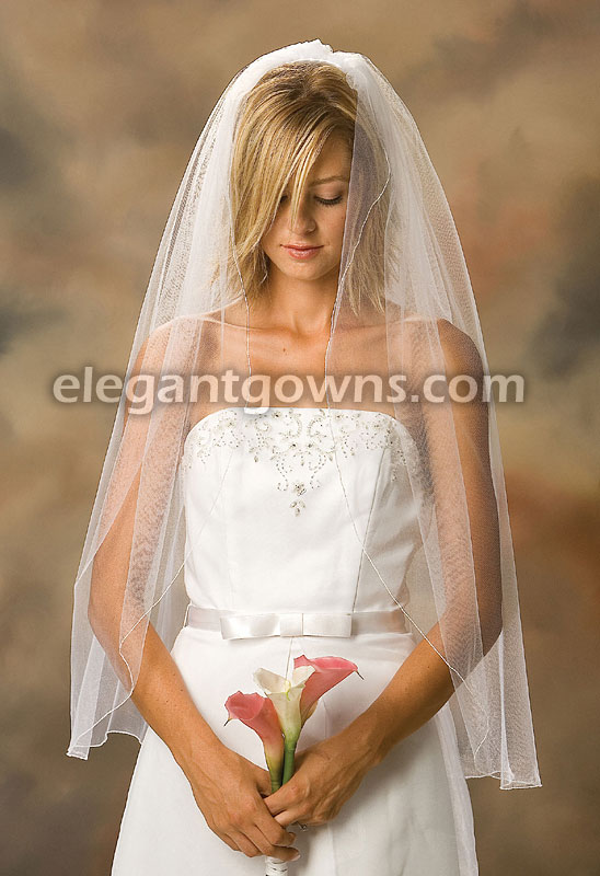 1 Tier Fingertip Length Corded/Pencil Edge Wedding Veil 1-361-C - Click Image to Close