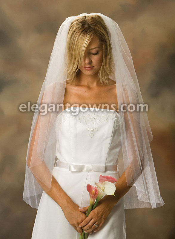 1 Tier Fingertip Length Cut Edge Wedding Veil 1-361-CT - Click Image to Close