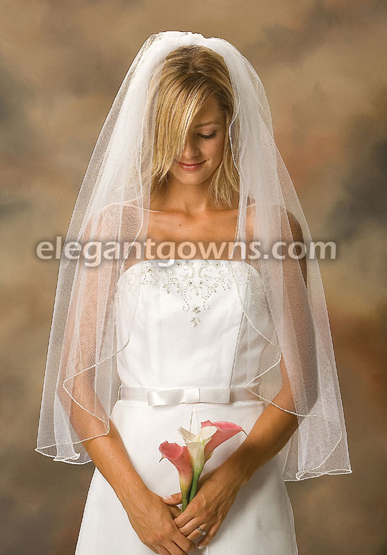 1 Tier Fingertip Length Pearl Edge Wedding Veil 1-361-P - Click Image to Close
