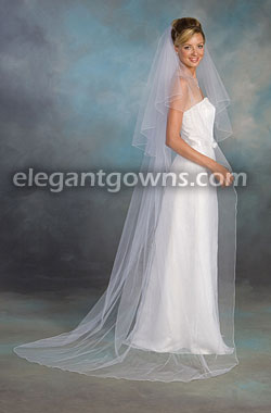 55cbe090c8f5d 2 Tier Chapel Length Corded Pencil Edge Wedding Veil C7-902-C  C7 ...