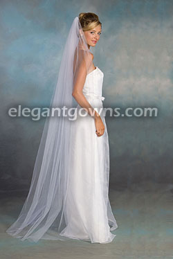 1 Tier Floor Length Cut Edge Wedding Veil 721 Ct