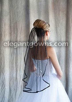 1 Tier Black Wedding Veil 3 8 Ribbon Edge 5 301