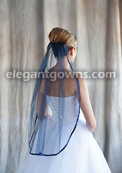 1 Tier Navy Blue Veil With 3 8 Ribbon 5 301