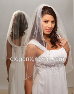 Clearance White Waist Length Wedding Veil 2012-2_C