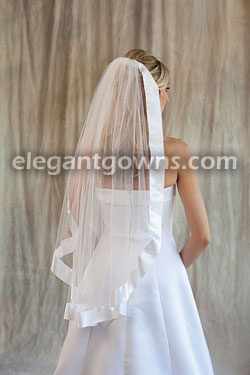 Clearance White Fingertip Length Wedding Veil 2011-15_C