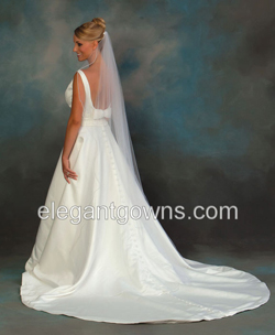 1 Tier Floor Length Pearl Edge Wedding Veil C7 721 P