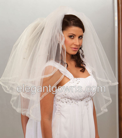 Clearance - Ivory 2 Tier Waist Length Veil 2011-2_C
