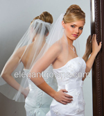 1 Tier Waist Length Cut Edge Wedding Veil 5-301-CT
