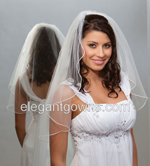 1 Tier Elbow Length Pearl Edge Wedding Veil 7-251-P