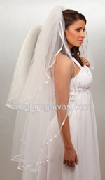 "Clearance White Knee Length Wedding Veil 3/8"" Ribbon Edge2011-18"