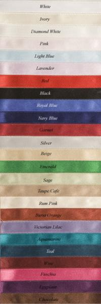 Custom Wedding Veil Colored Ribbon Edge Chart