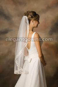 Double 3/8 inch ribbon wedding veil